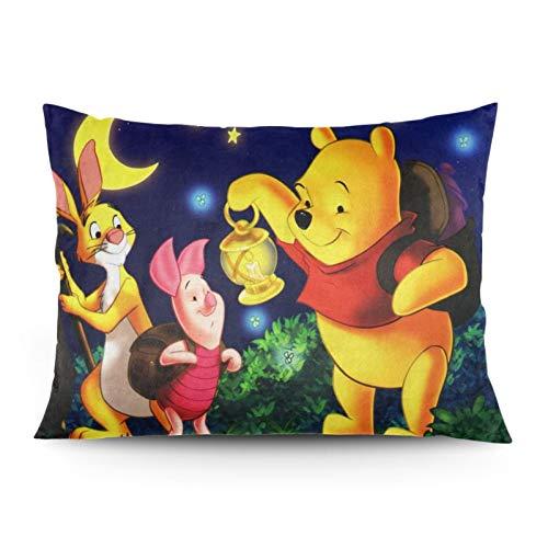 Winnie The Pooh Disn-ey - Funda de almohada de escritorio (tamaño mediano), 100% microfibra, transpirable y sin arrugas, 55 x 66 cm