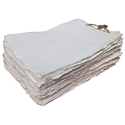 Sketchbook - Sketch Pad - Watercolor Paper - Mixed Media Sketchbook - 20 Sheets of Off-White Deckle Edge Cotton Handmade Paper of 130 GSM by Paper Craft (PC-HPDW101-6x8-20)