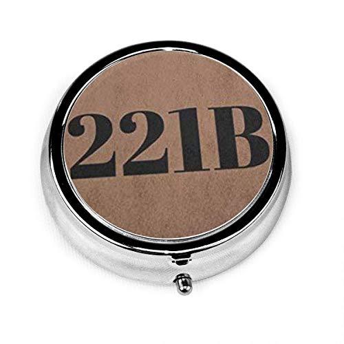 Runder Pillenetui mit kleinem Pillenetui mit 3 Fächern, tragbar für die Geldbörse Sherlock Holmes 221B mit flacher Nummer