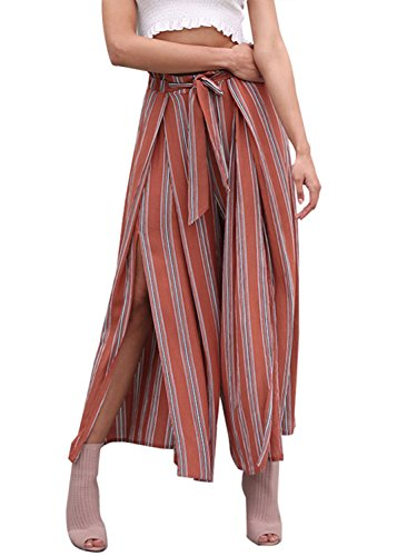 BerryGo Women's BohoHighWaistSplitStripeWideLegPants Rust Red Stripe,S