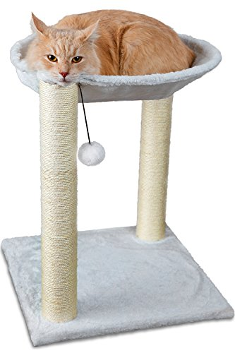 Paws & Pals OxGord Cat Tree House, 16 x 16 x 20-Inches, Multi 2 Level, White with Scratching Post Tower, Hammock Bed and Pet Toy Ball