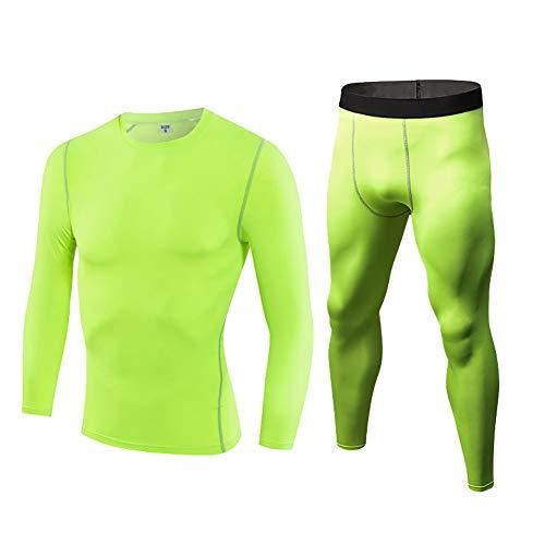 Daoba Hombre 2 Piezas Secado Rápido Conjunto Compresión Ropa Leggings y Manga Larga Tops Apretada para Running Fitness Entrenamiento