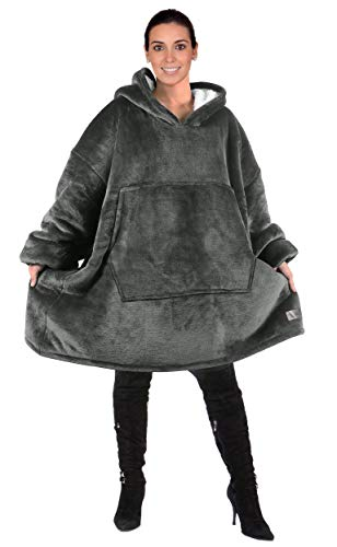 Oversized Hoodie Blanket Sweatshirt,Super Soft Warm Comfortable Sherpa Giant Pullover with Large Front Pocket,for Adults Men Women Teenagers Kids,Grey
