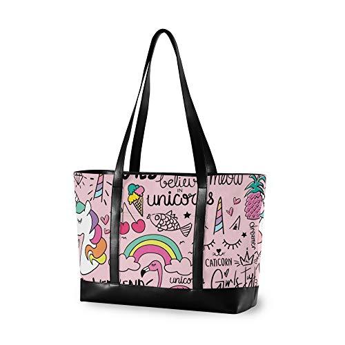RELEESSS Tragetasche Laptop Taschen Cute Einhorn Tier Handtasche Schultertasche Laptop Hülle für Frauen Damen Mädchen