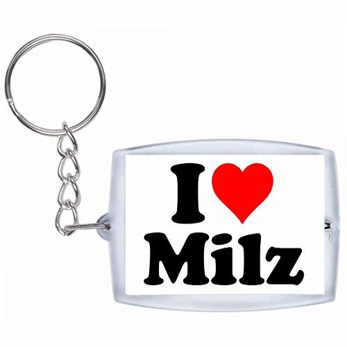 Druckerlebnis24 Schlüsselanhänger I Love Milz in Weiss - Exclusiver Geschenktipp zu Weihnachten Jahrestag Geburtstag Lieblingsmensch