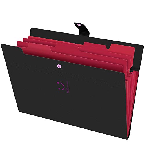 Phyxin Expanding File Folders 5 Pockets Document Organizer A4 Letter Size Plastic File Folder with Labels Document Holder for Business School Supplies Black