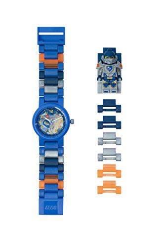 LEGO Nexo Knights 8020516 Clay Kinder-Armbanduhr mit Minifigur und Gliederarmband zum Zusammenbauen , blau/orange , Kunststoff , Gehäusedurchmesser 25 mm , analoge Quarzuhr , Junge/ Mädchen , offiziell