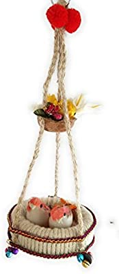 Aayam Design and Solutions Jute nest bird hanging (RED BIRD color)
