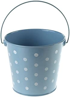 Homeford Firefly Imports Polka Dot Metal Pail Buckets Party Favor, 5-Inch, Light Blue,