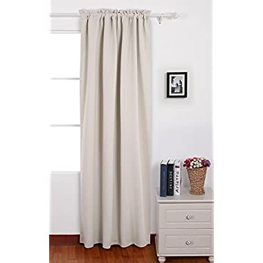 Deconovo Blackout Rod Pocket Thermal Insulated Curtains for Nursery 1 Panel, 42x95 Inch, Cream