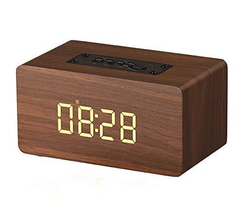 Altavoz Bluetooth, Bt4.2 viruta llevada pantalla grande de pantalla del reloj de alarma de reloj de voz de alta definición con manos libres de llamadas de larga duración Soporte de tarjeta TF duración