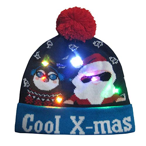 Binggong Herren Mantel LED Weihnachtsmütze Leuchten Beanie Mütze Nikolausmütze Xmas Warme Wintermütze Strickmütze Verschiedene Modelle,Schöne Partymütz Hut für Männer Damen Kinder