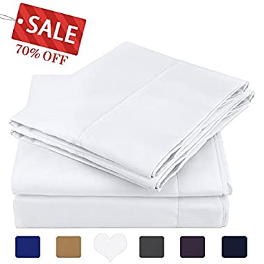 HOMEIDEAS 4 Piece Bed Sheet Set (Queen,White) 100% Brushed Microfiber 1800 Bedding Sheets Deep Pockets,Wrinkle & Fade Resistant