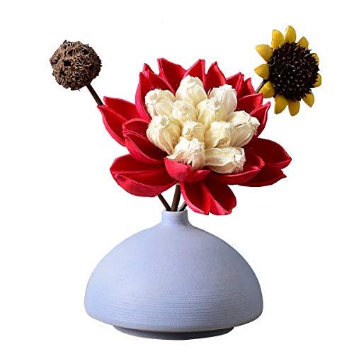 Ceramic Small Vase Flower Insert Ornaments Living Room Restaurant Cafe Decoration Vase-Blue,A