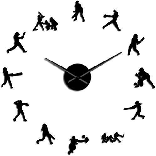 Reloj De Pared Reloj De Pared Cocina Moderno Softbol Jugadores Femeninos Diy Reloj De Pared De Gran Tamaño Efecto Espejo Decoración Del Hogar Mujeres Regalo Deportivo Agujas De Metal Grandes Reloj Gig