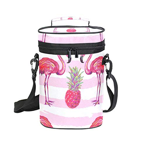 Montoj Eamless Summer Tropical Pattern with Flamingo and Portable 2-Flaschen gepolsterte vielseitige Weinflaschen Kühltasche Isolierte Weintasche
