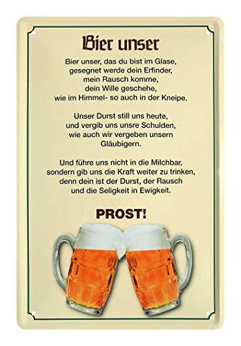 Bier unser Blechschild - Retro Deko Metallschild - lustiges Bier Schild - witzige Wanddeko für Kellerbar Kneipe Tresen Theke Bar - Bier Geschenkidee für Biertrinker und Biergenießer - 20x30cm