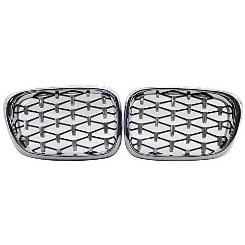 YYDM Parrilla del riñón Delantero, Capucha Delantera Diamond Grille Meteor Prill FOR-BMW E39 5 Series 525i 528i 530i 540i M5 1997-2003 Chrome