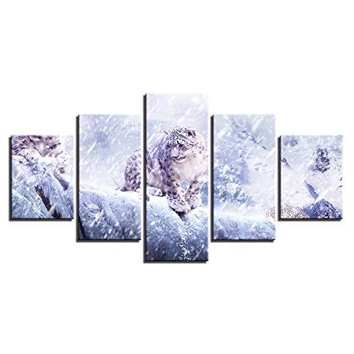 Decoratief schilderij 5 opeenvolgende achtergrond wanddecoratie canvas Hd afdrukken foto's 5 stuks sneeuw luipaardschilderij woonkamer muurkunst lijst dier Panthera poster wooncultuur