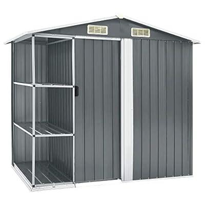 vidaXL 7x5 Metal Shed with Side Storage Shelves
