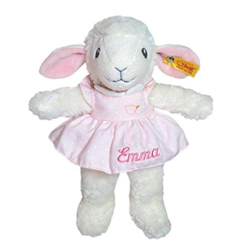 Steiff Träum süß Lamm mit Kleidchen mit Ihrem Wunschnamen bestickt 28 cm rosa 239625mn