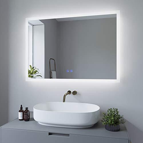 AQUABATOS 100x70 cm Badspiegel mit Beleuchtung Badezimmerspiegel Lichtspiegel LED Wandspiegel Energiesparend. Touch-Schalter Dimmbar + Kaltweiß 6400K + Warmweiß 3000K + Spiegelheizung + IP44 + CE