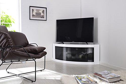 "Centurion Supports PANGEA Gloss White Beam-Thru Curved Tru-Corner 32""-55"" TV Cabinet"
