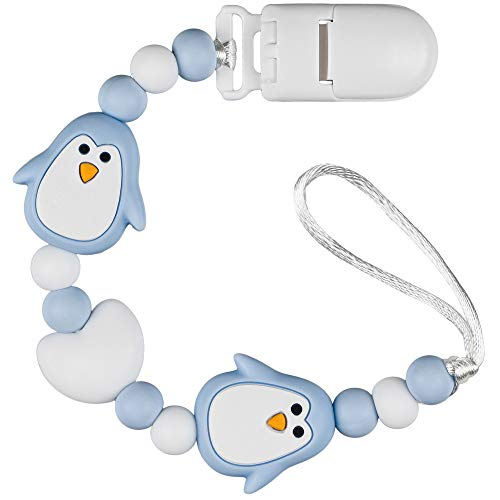 PREMYO Cadena Chupete Bebé Pingüino - Chupetero Silicona Niño Mordedor con Perlas - Clip Universal Azul