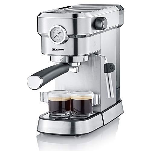 Severin KA 5995 Espresa Plus - Cafetera espresso, 1350, 1.1 L, acero inoxidable cepillado, color negro mate