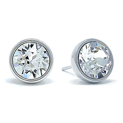Ed Heart Women's Long Post Stud Earrings with Round Clear White Crystals from Swarovski Rhodium Plated (Crystal Heart Post Earrings)