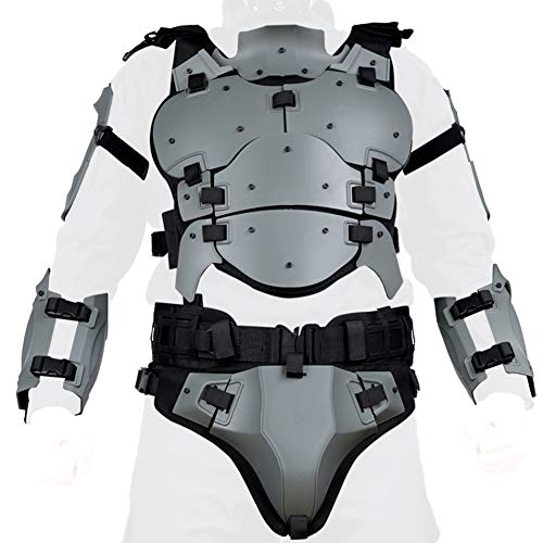 Airsoft Vest Body Armor Vests Adjustable Tactical Molle Chest Protector Vest+Elbow+Shoulder+Crotch+Battle Belt Set Paintball Military Combat Training Gear Motorcycle CS Cosplay Movie Costumes (Gray)