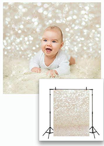 LYWYGG 5X7FT Golden Spots Fotografía Telón de Fondo Shinning Sparkle Escala de Arena Fondo de Vinilo Bokeh Profesional Bebé recién Nacido Children Retrato Foto Estudio Photo Booth Props CP-124