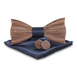 Jelinda Wooden Bow Tie Set for Men Handmade Men's Wood Bow Tie Cuff-links Pocket Squares Set