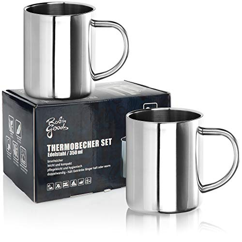 Robin Goods® 2X Edelstahl-Thermobecher Set - 350 ml je Kaffeetasse - Thermo-Trinkbecher aus hochwertigem Edelstahl - Kaffeepott bruchsicher - doppelwandige Isolierbecher (Edelstahl - 02 Stück)