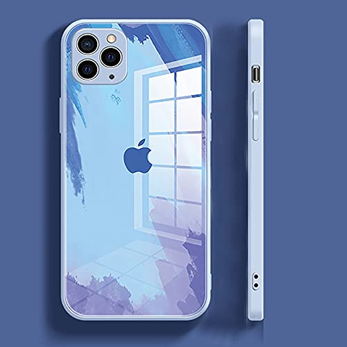 Compatible with iPhone 11 Case for Women,Unique Pretty Watercolor Tempered Glass Back, Side with Flexible Soft TPU Silicone Shock Absorption Protection Cover(6.1inch)(Purple Blue)