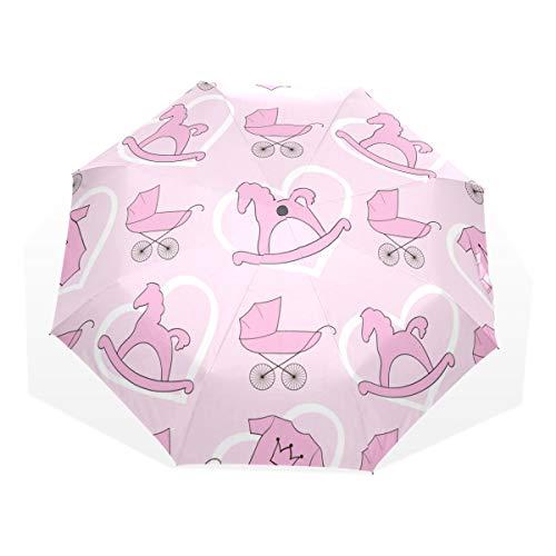 LASINSU Paraguas Resistente a la Intemperie,protección UV,Paraguas Ligero,Baby Girl Stuff Pattern en el Fondo Rosa con Corazones,Plegable