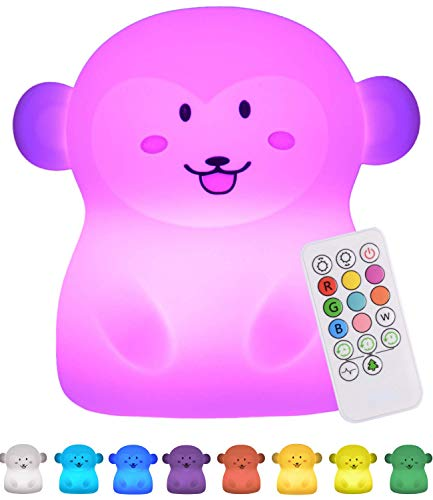 Baby Night Light for Kids Room: LED Kids Night Light Baby Lamp for Nursery | Monkey Lamp with Remote | Nine Multi Color Changing LED Monkey Lights | Miffy Lamp for Nursery | Silicone Night Light Kids