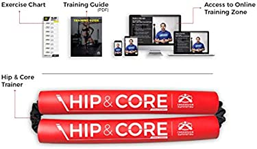 Crossover Symmetry Hip & Core System - Stretch, Strengthen & Train Core, Hips, Glutes & Legs – Includes Exercise & Training Guide – Red Medium Resistance Band