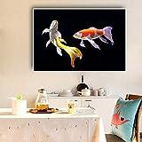 N / A Koi Poisson Lotus Peinture Nordique Nordique Noir Toile Art Affiche et Impressions Salon Cuisine décoration Peinture Murale Art sans Cadre Peinture 40 cm x 60 cm