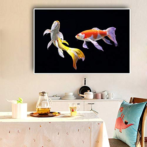 N / A Koi Fisch Lotus Malerei nordischen Stil schwarz Leinwand Kunstplakat und druckt nordischen Wandbild Wohnzimmer Küche Dekoration rahmenlose Malerei 30cmx45cm
