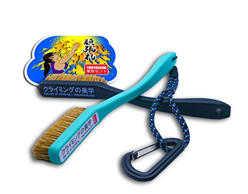 Advanced Rock Climbing and Bouldering Brush Set | Firm + Extra Firm Brushes, Lanyard, Gear Biner (Sea Teal + Black)