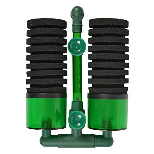 OFNMY leiser Filter für große Aquarien Luftpumpe Doppel Schwamm Filter(QS-200A)