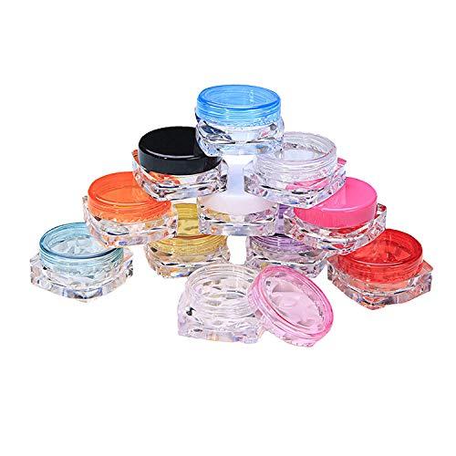 GeekerChip 40 Leere Döschen Set,5g Leerdose klarer Tiegel,Mini Dosen mit Schraubverschluss für Kosmetik, mit 5er Mini Spatel,für Crème Salben Pulver, Strasssteine, Perlen, Saat,10 Farben