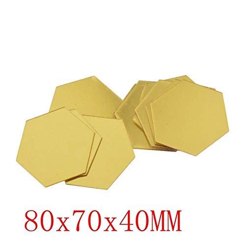 Coner zeshoekige acryl spiegel muurstickers kunst muurstickers woonkamer gespiegelde decoratieve stickers, goud 80x70x40MM, 36st