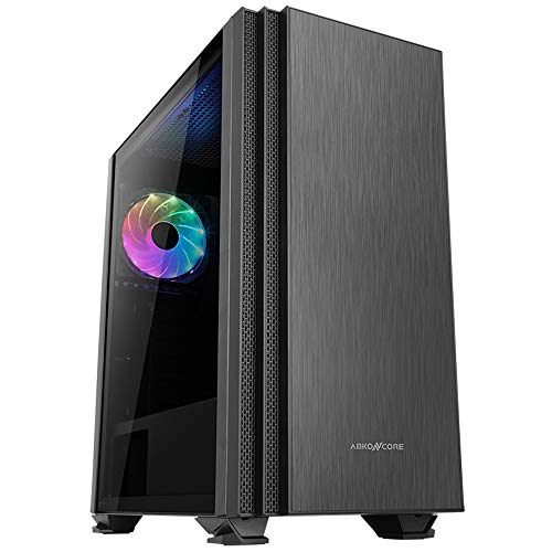 ABKONCORE C750 PC Case, Mid-Tower Case with Tempered Glass Side Panel, Computer Case with Magnetic Dust Filter, Water-Cooling Ready, Side Ventilation - 1x120mm Pre-Installed RGB Fan