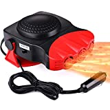 12V Car Heater, YYoomi 150W Electionic Auto Defrost Defogger, Truck Portable Heating/Cooling Fan 2 in 1, 3-Outlet, Plug Into Cigarette Lighter, 360 Degree Rotary