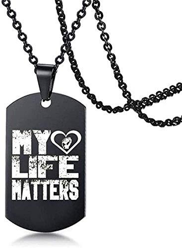 ZPPYMXGZ Co.,ltd Collar de Moda Collar afroamericano Protesta Collar de Marca Militar Negro Collar de Hip-Hop con Colgante de Acero Inoxidable