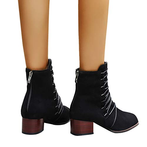 Simayixxch Women Party Ankle Boots Round Toe Chunky Heel Zipper Boots Leopard Solid Color Vintage Strappy Ankle Booties Black