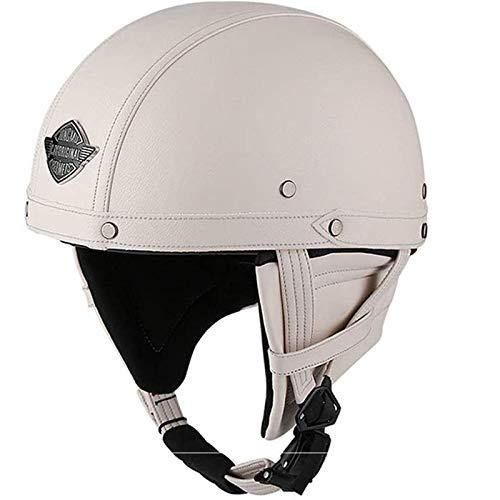 JLLXXG Pilot - Casco de piel para motocicleta, estilo vintage, para motociclista, crucero, scooter