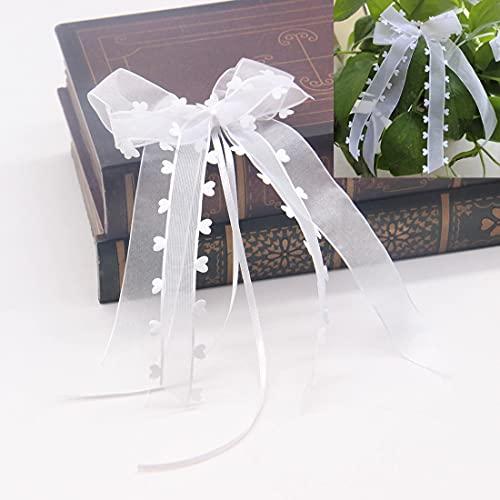 Afrsmw 30 × Lazos para Coche de Boda Lazos de Tul Blanco Lazos Decorativos para Coche, Boda, cumpleaños, Partido, celebración,Navidad